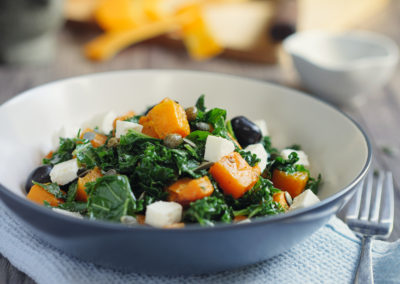 roasted butternut squash with kale and feta cheese